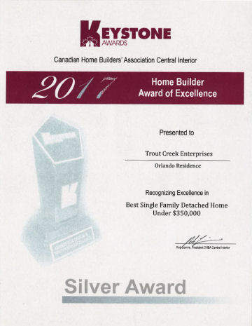 Silver Award Best Single Family Detached Home Under $350,000